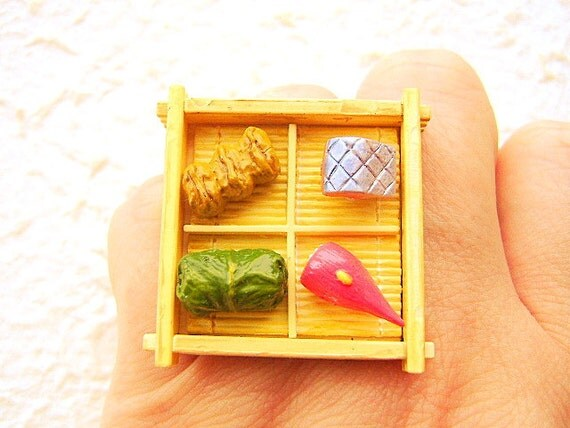 Japanese Food  Ring  Miniature Food Jewelry Sushi Ring