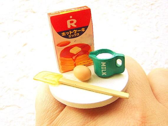 Miniature Food Ring Making Pancakes  Kawaii Food Jewelry
