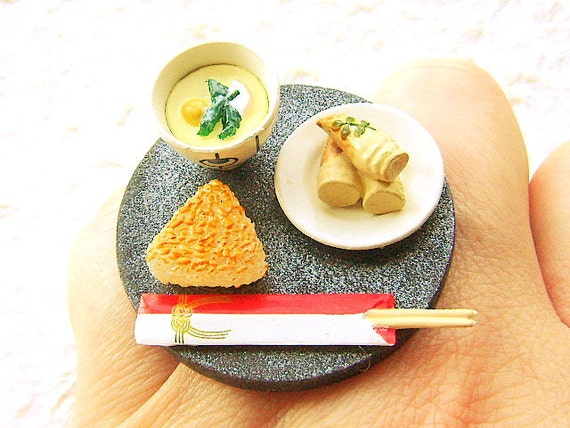 Japanese Food Ring Rice Bamboo Chawanmushi Miniature Food Jewelry