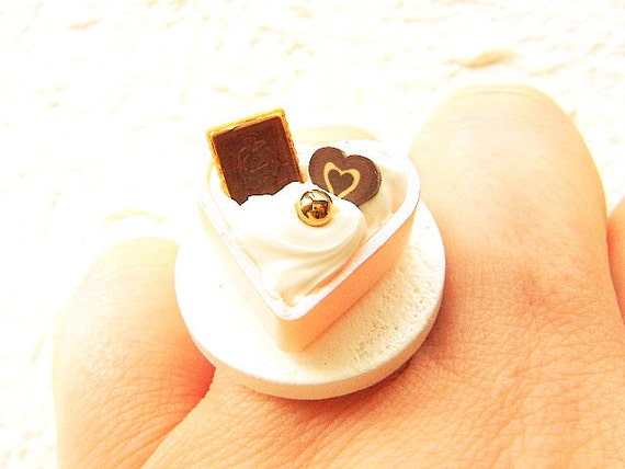 Miniature Food Ring Candy Vanilla Ice Cream Chocolate Cookie Food Jewelry