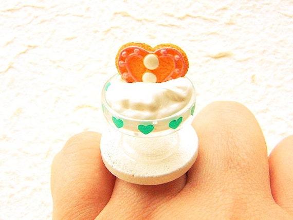 Miniature Food Ring Ice Cream Cookie Kawaii Food Jewelry SALE