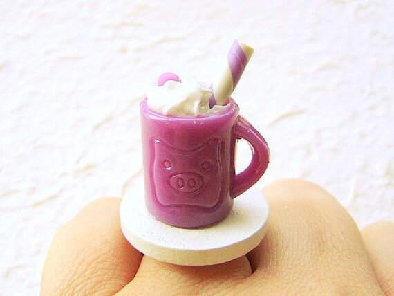 Hot Chocolate  Ring Kawaii Miniature Food Jewelry SALE