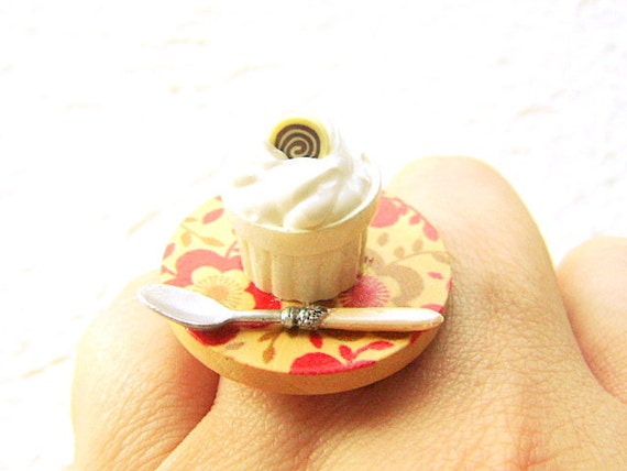 Food Ring  Chocolate Pudding Flower Miniature Food Jewelry