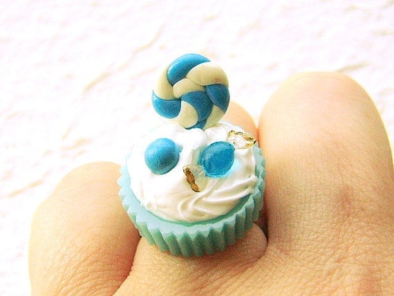 Food Ring Kawaii Blueberry Candy Cup  Ice Cream Miniature Food Jewelry
