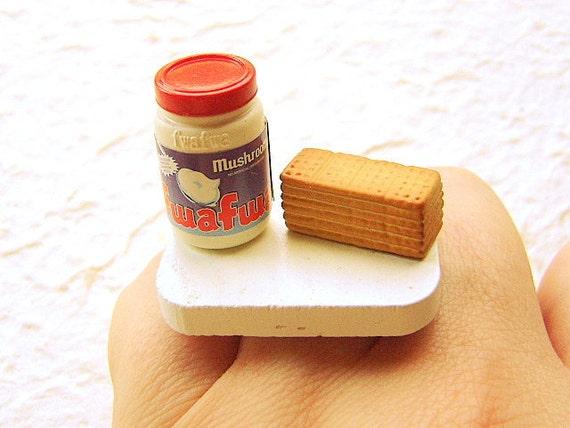 Kawaii Food Ring Marshmallow Fluff Cream Honey Crackers Miniature Food Jewelry SALE