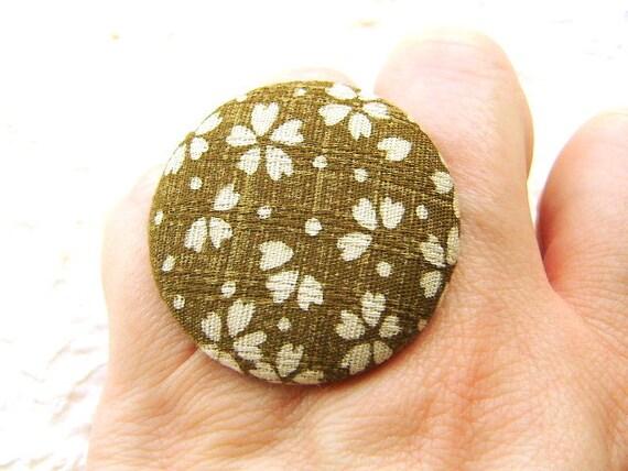 Japanese Fabric Button Ring Cherry Blossoms Sakura Green SALE