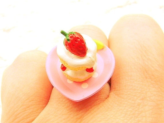 Cute Miniature Food Ring Strawberry Cake Miniature Food Jewelry