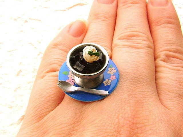 Cute Food Ring Miniature Food Jewelry Coffee Jelly Gifts