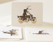 Insect Greeting Cards Beetle on Motorcycle Weevil Knievel