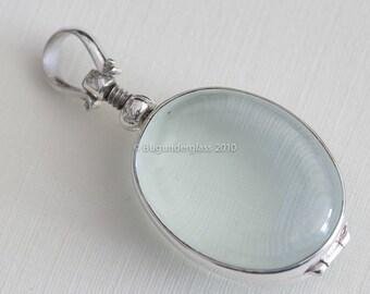 Oval Glass Locket Sterling Silver Keepsake finding7m