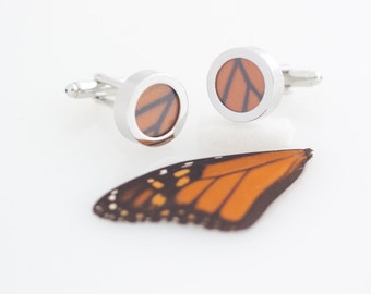 Wedding Cuff Links Real Monarch Wing FREE SHIPPING