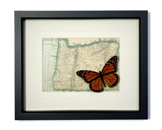 Vintage Oregon Map with Monarch Butterfly Display