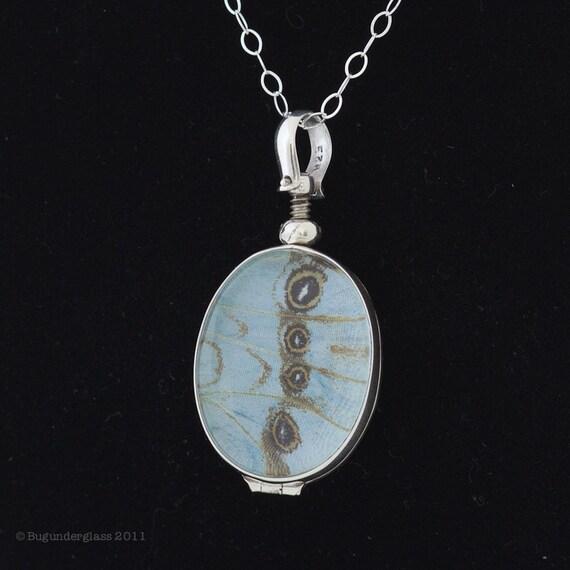 SALE - Butterfly Wing Jewelry Mint Morpho Butterfly Pendant