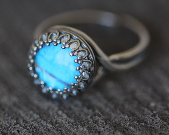 Real Butterfly Wing Ring Blue Morpho Sterling Silver