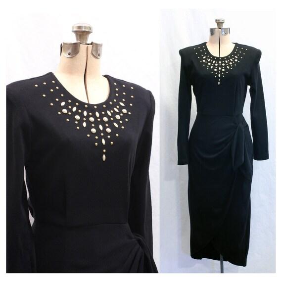 SALE Vintage Pearl and Gilded Days 80s Pillar Dress Medium