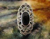 Ring - Size 8 1/4 - Sterling Silver - Large Women Ring - Marcasite - Black Onyx - Large Silver Cocktail Ring - Signed Stamped 925