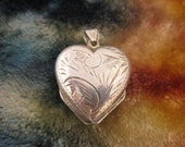Pendants - Sterling Silver Locket -  4 Panel Heart Locket - Etched Silver Heart - Sterling Keep Sake - Stamped Signed 925