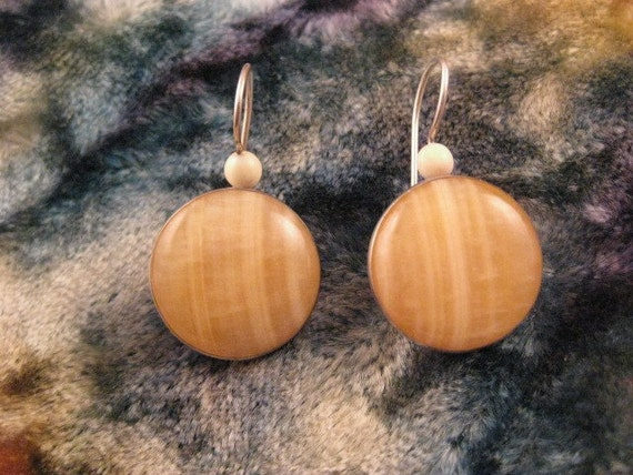 Vintage Agate and Sterling Silver Earrings