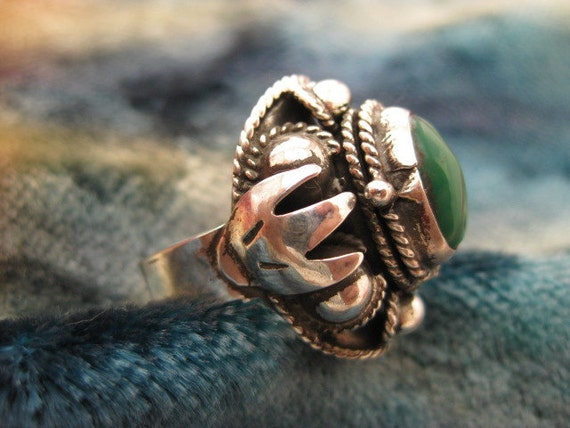Ring - Size 6 1/4 - Sterling Silver - Womens Poison Ring - Adjustable Band Vintage Mexican - Signed Stamped FMD
