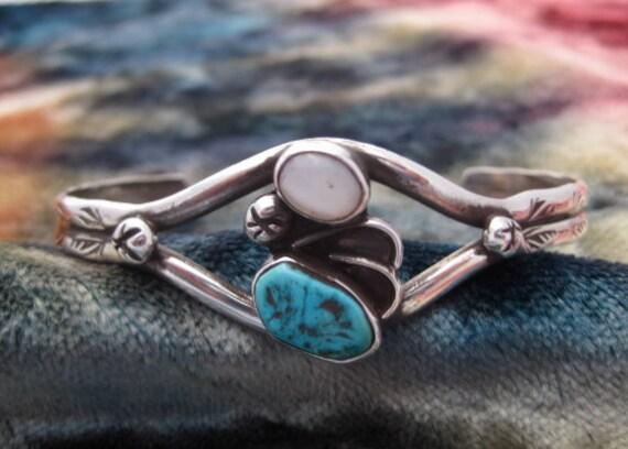 Vintage Sterling Silver Mop Turquoise Cuff Bracelet