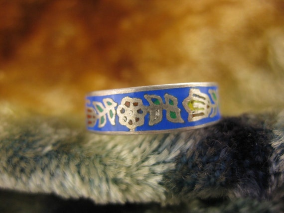 Ring - Size 6 3/4 -  Sterling Silver - Thai Enamel - Floral Ring Band - Girls Silver Ring - Blue Enamel