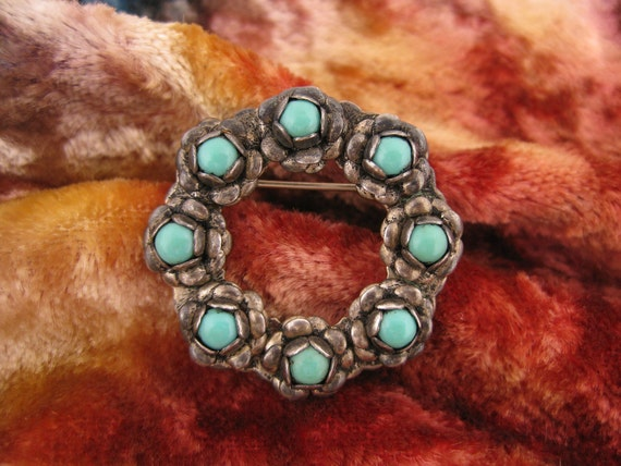 Brooch - Pin - Sterling Silver - Turquoise - Wreath - Southwest Style - Collectible - Blue Jewelry