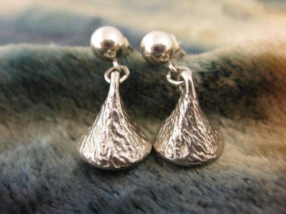 Earrings - Sterling Silver - Pierced Ear Earrings - Hershey Kiss Sterling Earrings - Designer Sterling Earrings - Vintage Womens Jewelry