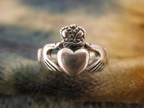 Rings - Size 8 1/4 - Sterling Silver - Claddagh Ring - Wedding Band - Engagement Ring - Irish Tradition - Friendship Token