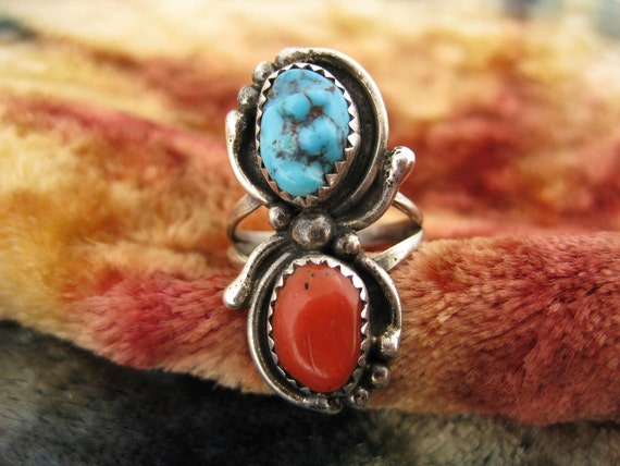 Ring - Size 7 1/2 - Sterling Silver - Turquoise Ring - Red Coral Jewelry - Blue And Red Stones - Multi Stone Ring