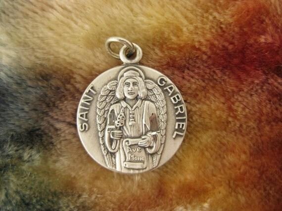 Pendant - Sterling Silver - St Gabriel Charm - Archangel Jewelry - Saint Gabriel Medallion - Roman Catholic Icon - Signed JCC Sterling
