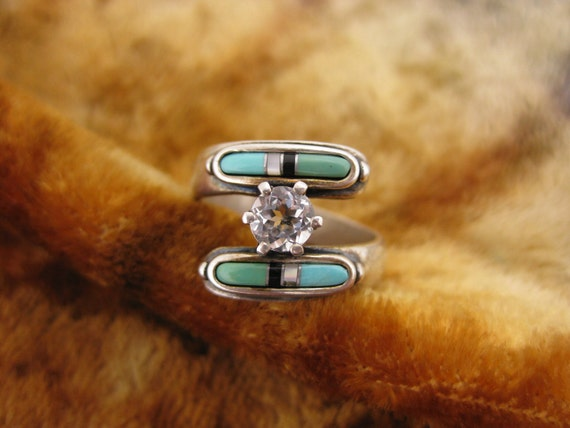Reserved for Patty - Ring - Size 7 1/2 - Sterling Silver - Zuni Multi Stone Ring - Cubic Zirconia - Mother of Pearl - Black Onyx