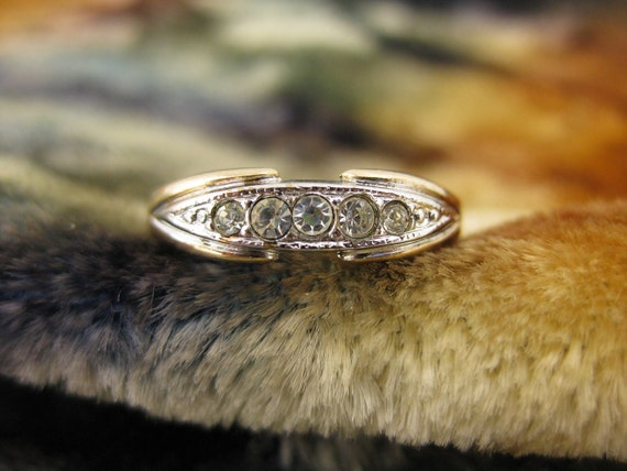 Ring - Size 7 - 10k Gold Filled - Promise Ring - CZ Ring - Golden Ring - Cute Women Ring - Signed Gold Filled