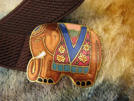 Belt - Cloisonne - Orange Elephant - Girls Belt - Women Belt Buckle - 28 inches Long - Colorful Buckle - Elastic Belt