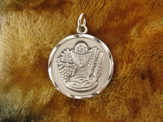 Charm - Pendant - Sterling Silver  - Religious Jewelry - Signed Creed Sterling - Silver Medallion