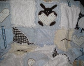 Blue and White Minky and Chenille Blanket