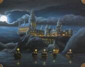 Print of Original Oil Painting of Hogwarts at Night 5 x 7