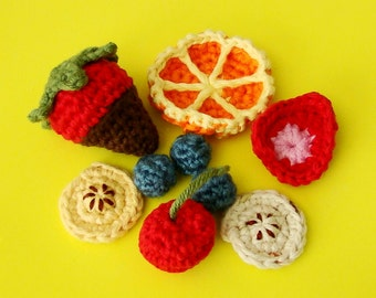 Fruit Salad Amigurumi PDF pattern and FREE Amigurumi Chocolate Covered Strawberry pattern (read bellow) by Amiguria