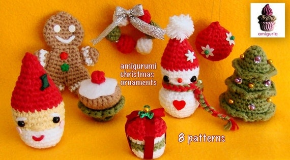 Amigurumi Christmas Ornaments - 8 PDF Patterns (1 is for FREE) - Super affordable price