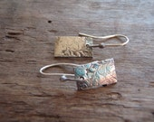 true love recycled silver earrings . vine texture . artisan handmade rectangle charms