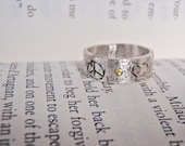 peace love gemstone ring.  personalized inscription, eco silver