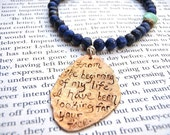 rumi quote lapis necklace . recycled bronze boho bohemian gemstone necklace . ready to ship . free shipping