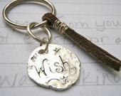 recycled silver wish keychain . recycled silver medallion and leather . sale last one . free shipping