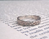 rustic tudor rose wedding ring . recycled silver thin wedding band . custom personalized secret message