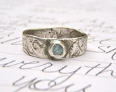 aquamarine engagement ring . recycled silver swirl wedding band ring . serenity secret message by peaces of indigo