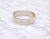happily ever after mens wedding band ring . extra thick recycled silver band . personalized fairy tale ring . free shipping
