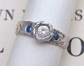 sapphire engagement ring . three stone ring . fair trade sapphire ring . recycled silver ring . custom personalized