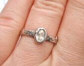 reserved for the fabulous S . a custom herkimer diamond engagement ring . recycled silver . handwritten inscription