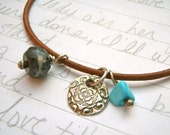 leather charm bracelet with gemstones . eco fashion silver charm bracelet by peacesofindigo . ready to ship free shipping