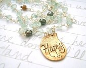 aquamarine paisley necklace . boho gemstone necklace . peacock pearls . yellow opal . recycled bronze .ready to ship  free shipping