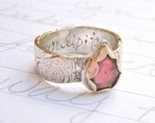pink tourmaline engagement ring . wide recycled silver wedding band . fair trade rose cut tourmaline . serendipity inscription